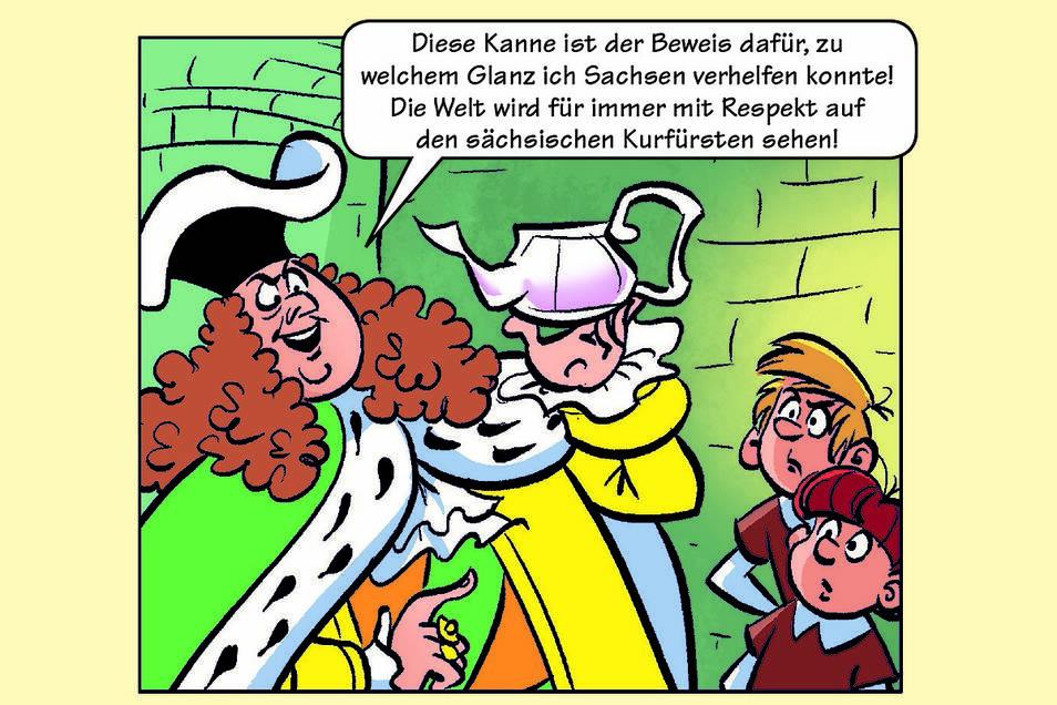 Die Abrafaxe aus den Mosaik-Comic-Heften werden im Oktober speziell für Sachsen unterwegs sein.