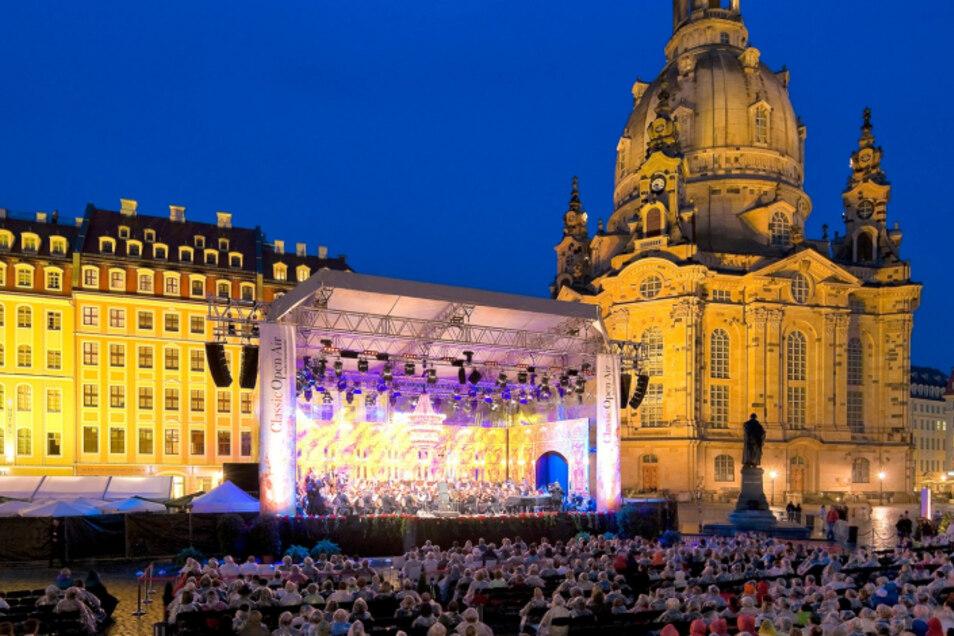 Ein Höhepunkt der Woche: Classic Open Air vor der Dresdner Frauenkirche.