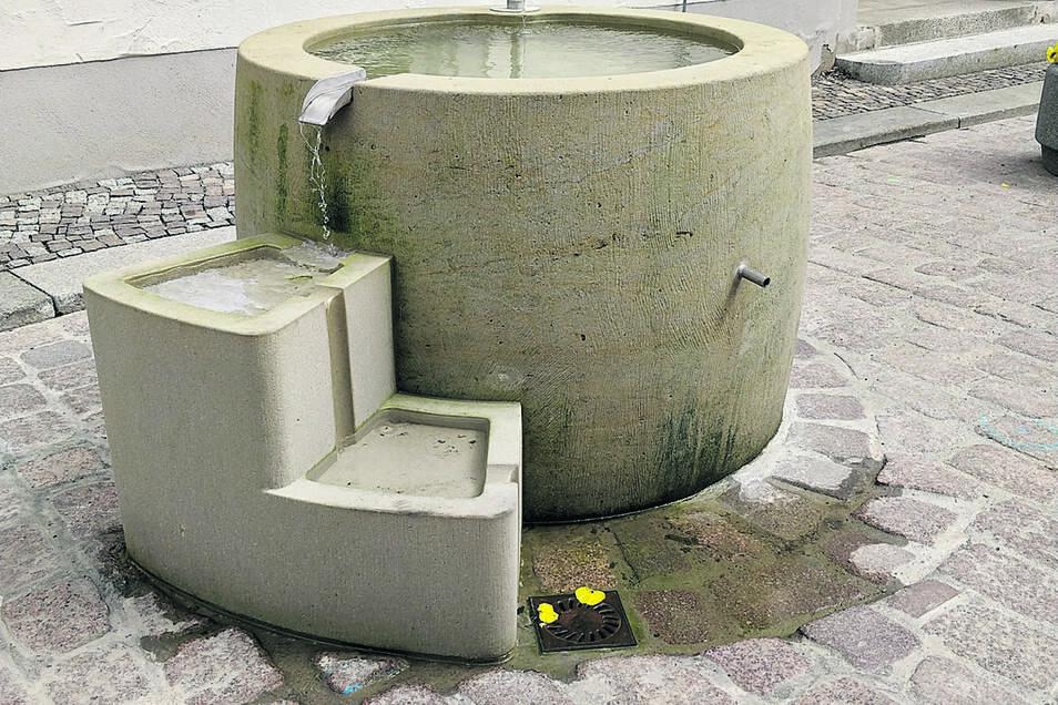 Mehrmals musste nachgebessert werden, nun sprudelt der Brunnen auf dem Theaterplatz in Meißen.