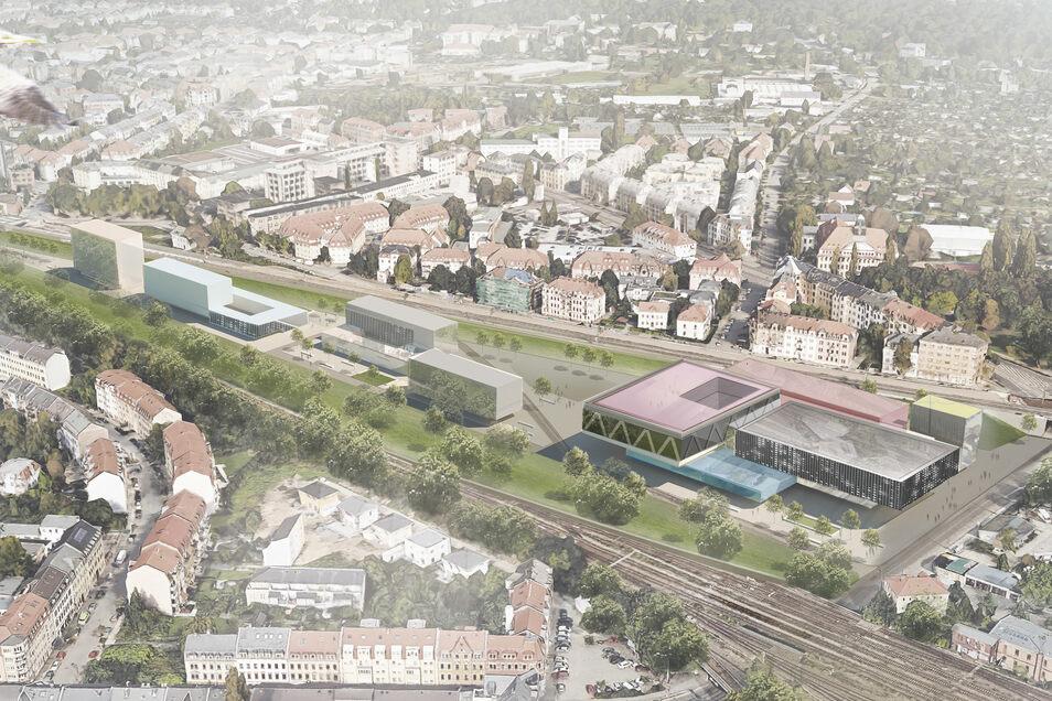 Auf der Brachfläche könnte der große Campus samt Schwimmhalle entstehen (rechts). Als Ergänzung sind  Gewerbeansiedlungen denkbar (links).