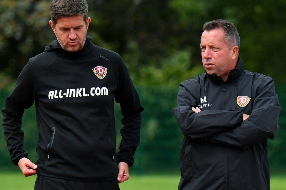 Zwei Männer, eine Meinung: Dynamos Sportchef Ralf Becker und Cheftrainer Markus Kauczinski streben den Aufstieg an. Neuzugänge in der Transferfrist bis Ende Januar sind nicht ausgeschlossen.