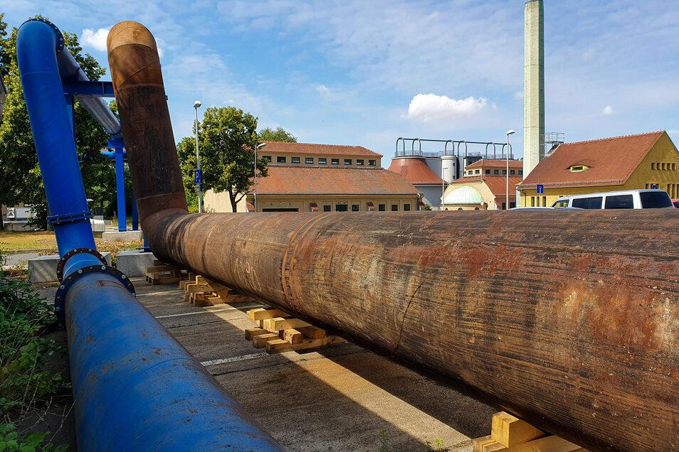 Im Klärwerk Kaditz liegen die Leitungen bereits komplett. Durch das blaue Rohr fließen die Abwässer der Anwohner.