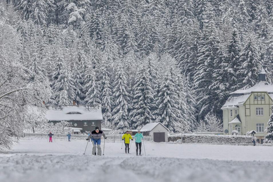 Skiläufer im Zittauer Gebirge.