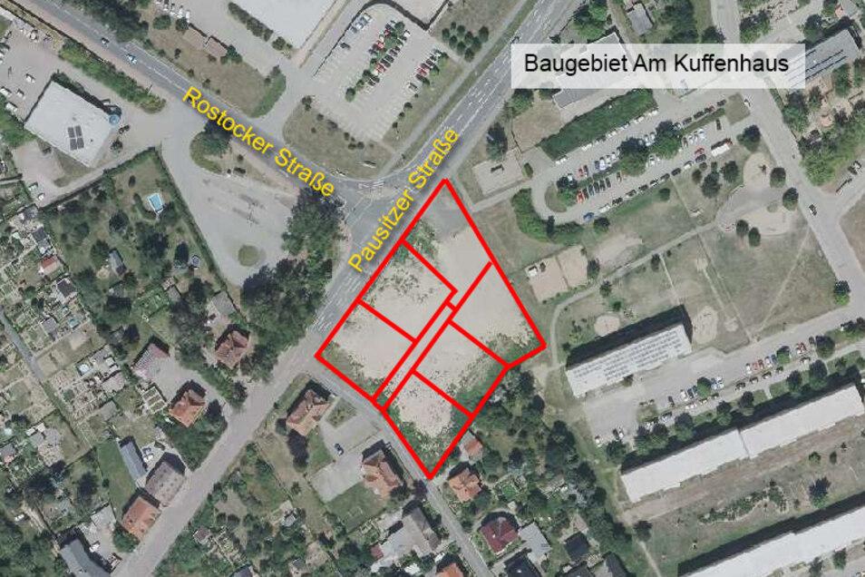 Eine Kreuzung, sechs neue Baugrundstücke: An der Ecke Pausitzer Straße/Rostocker Straße soll ein neues Wohngebiet entstehen.