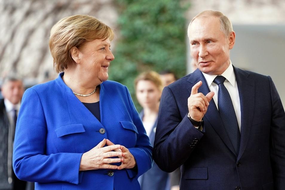 Was wird aus Nord Stream 2: Kanzlerin Merkel mit dem russischen Präsidenten Putin