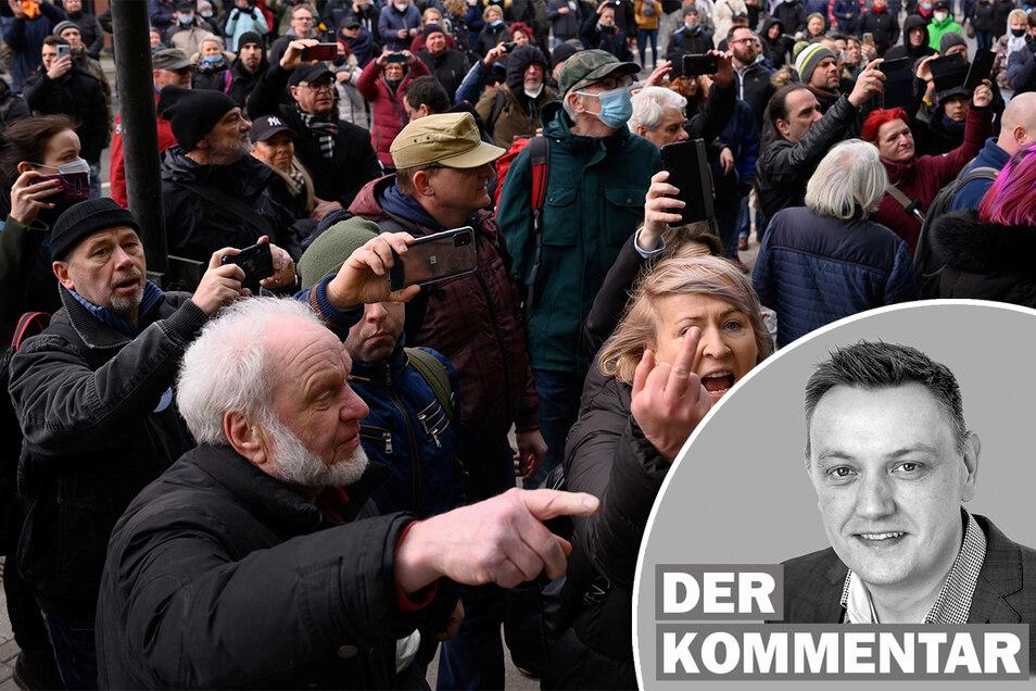 """Der Dresdner Ableger der """"Querdenken""""-Bewegung hat am Wochenende gezeigt, wie aggressiv sie ist."""
