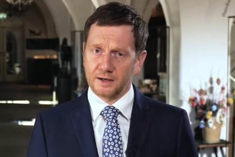 Sachsens Ministerpräsident Michael Kretschmer bei seiner Osteransprache.