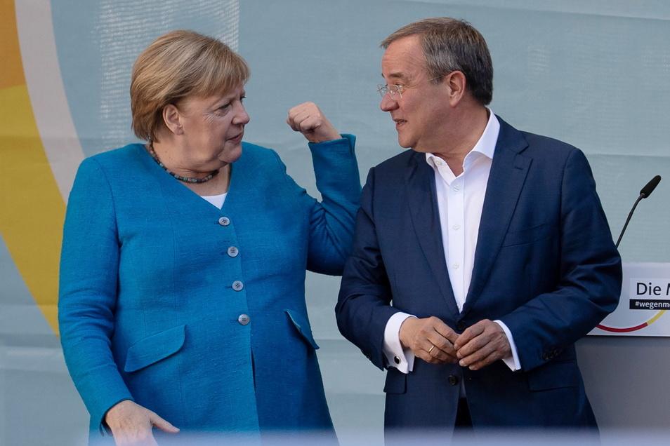 Angela Merkel (CDU) warb ein letztes Mal für Kanzlerkandidat Armin Laschet.