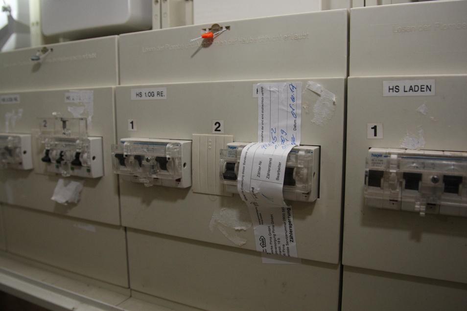 Sicherungskasten: Die Sicherungen für die Wohnung von Thomas Mache sind versiegelt und ausgeschaltet.