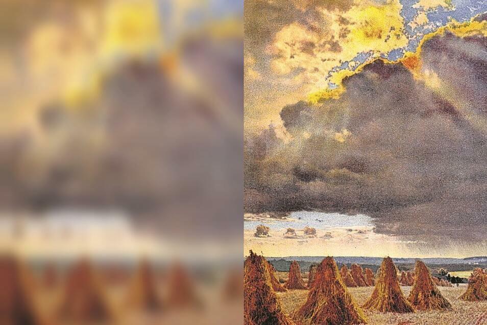 Unwetterwolken über dem Erntefeld: Oft waren die Bauern froh, wenn sie die Felderträge verlustarm einbringen konnten.