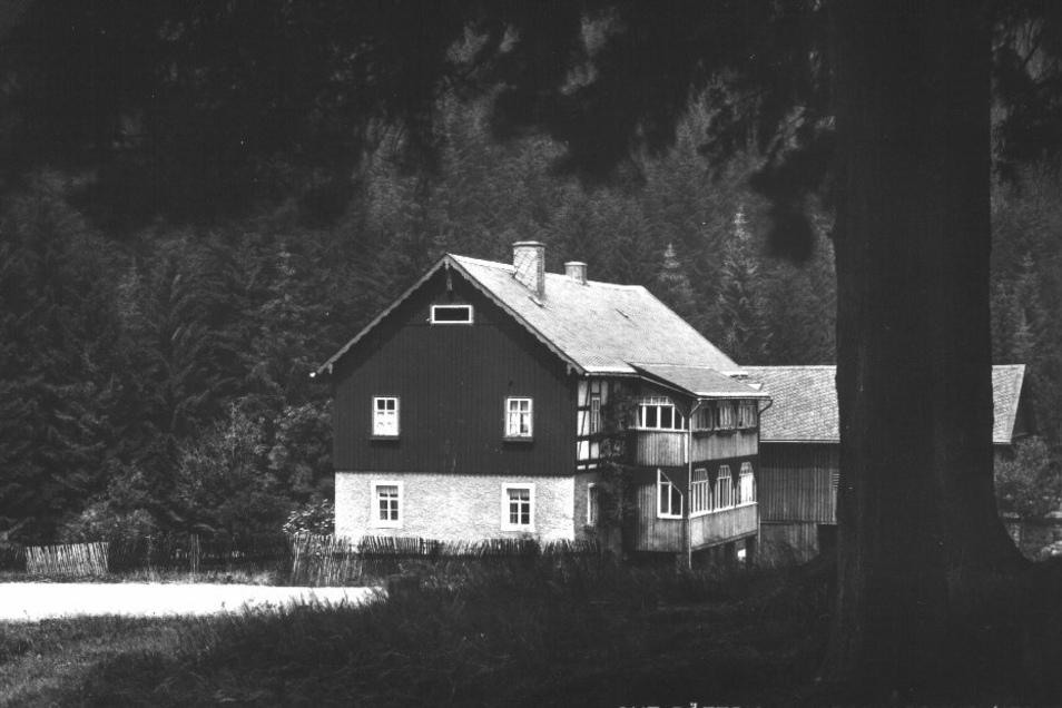 Die Scheune des Böttrich-Hofes hinter dem Baum wurde später zur Hirschkopfbaude ausgebaut.