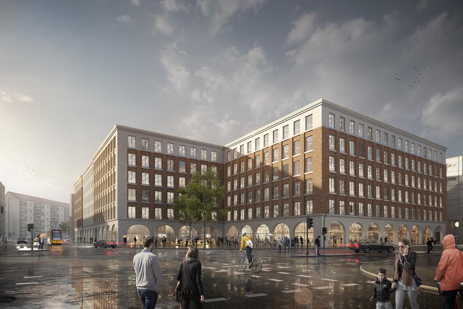 So sollen die Annenhöfe künftig aussehen, die zwischen Hertha-Lindner-Straße, Postplatz sowie Freiberger und Schweriner Straße errichtet werden.