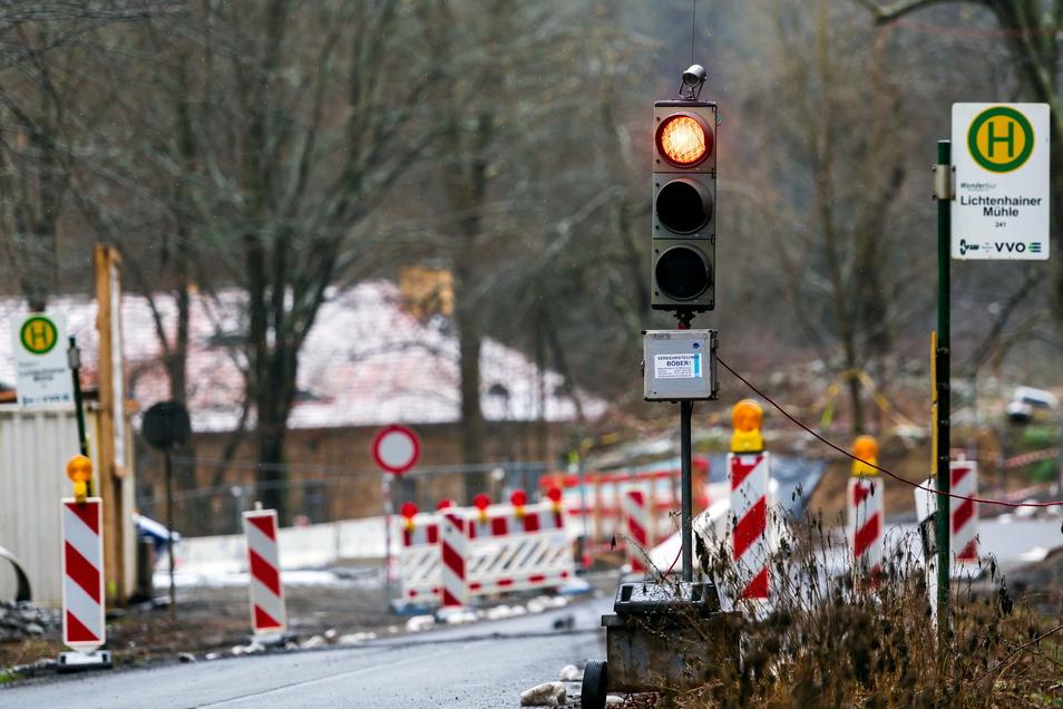 Im Kirnitzschtal wird seit längerem an einem Durchlass gebaut. Bis Ende Januar bleibt die Straße dicht.