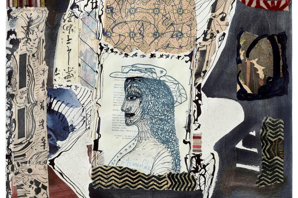 Übermalungen und Collagen finden sich häufig in Strawaldes Werk. Hier ein Blatt ohne Titel aus dem Jahr 2015.