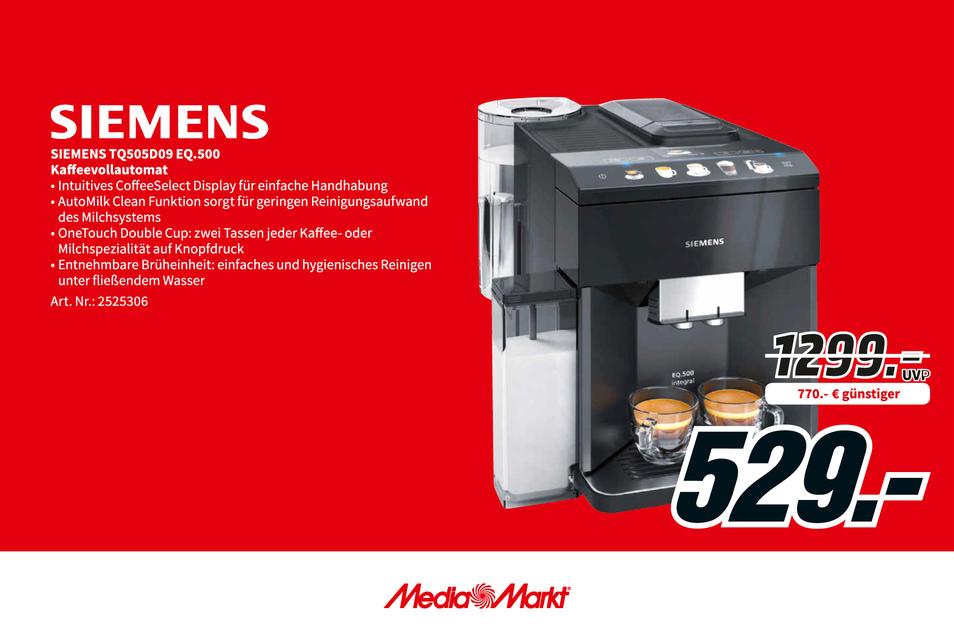 Siemens TQ505D09 EQ.500 Kaffeevollautomat jetzt 770€ günstiger