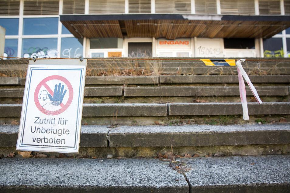 Gibt bislang ein trauriges Bild ab: die ehemalige Robotron-Kantine in der  Lingnerstadt.