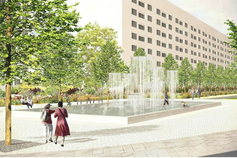 So soll der Dippoldiswalder Platz künftig aussehen.