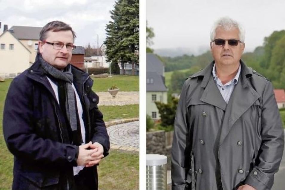 Sando Bürger (l.) und Lutz Hönicke kandidieren für das Bürgermeisteramt in Steina.