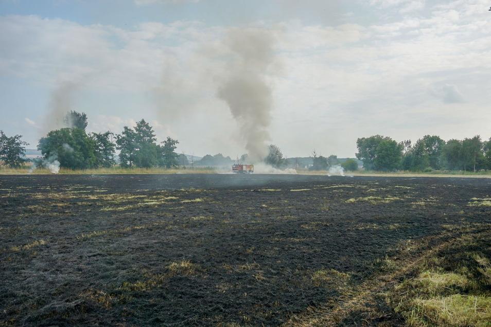 Eine große schwarze Feldfläche und eine Rauchsäule, die weithin zu sehen war: Am Donnerstagabend brannte ein Feld östlich von Bautzen.