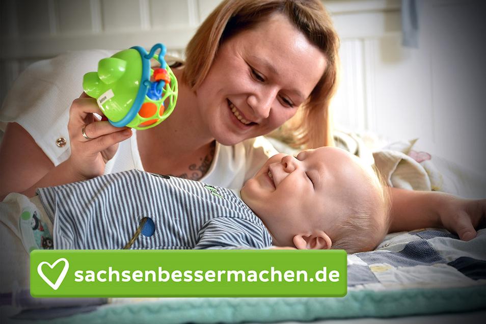 Melanie Krause mit ihrem Sohn Anton. Nach seiner dramatischen Geburt ist das Kind mehrfach schwer behindert.