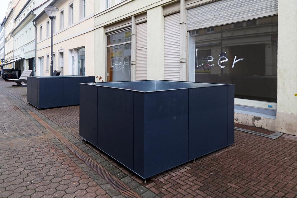Die Pflanzkübel in Riesa stehen nach der Kritik einiger Händler nun vor leeren Geschäften.