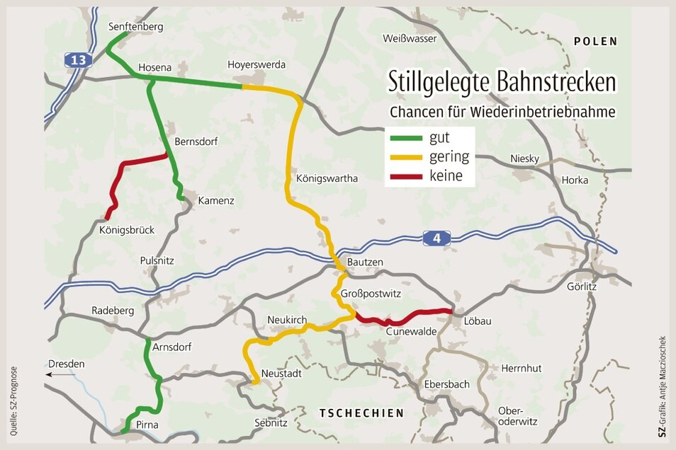 So schätzt SZ die Chancen für eine Wiederbelebung von stillgelegten Bahnstrecken ein.