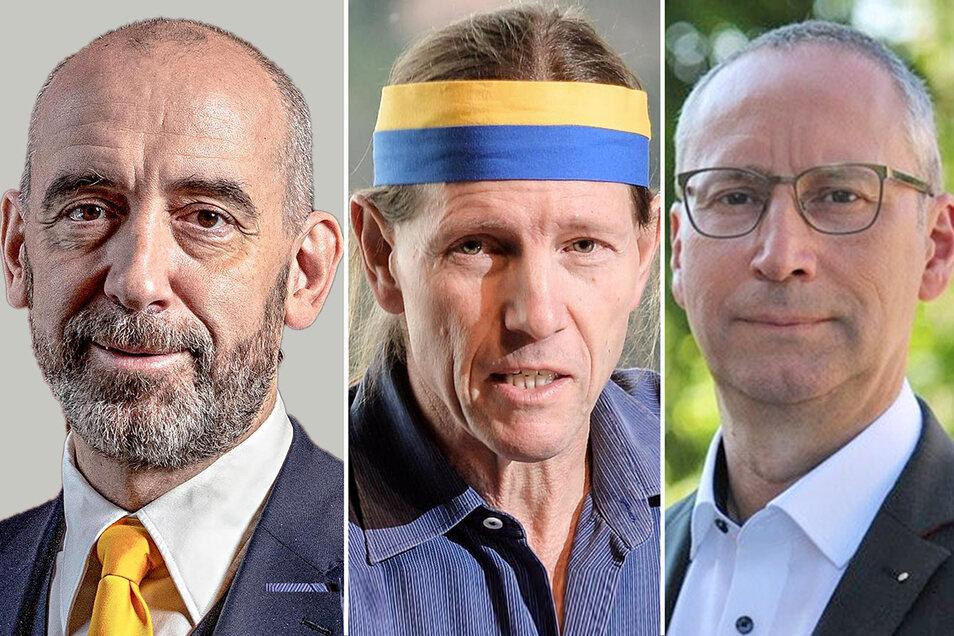 Bringen sich für die OB-Wahl 2022 in Bautzen in Stellung: Amtsinhaber Alexander Ahrens (SPD/l.) und Stadtführer Andreas Thronicker (parteilos/Mitte) haben bereits erklärt, dass sie kandidieren wollen. Karsten Vogt (CDU) überlegt noch.