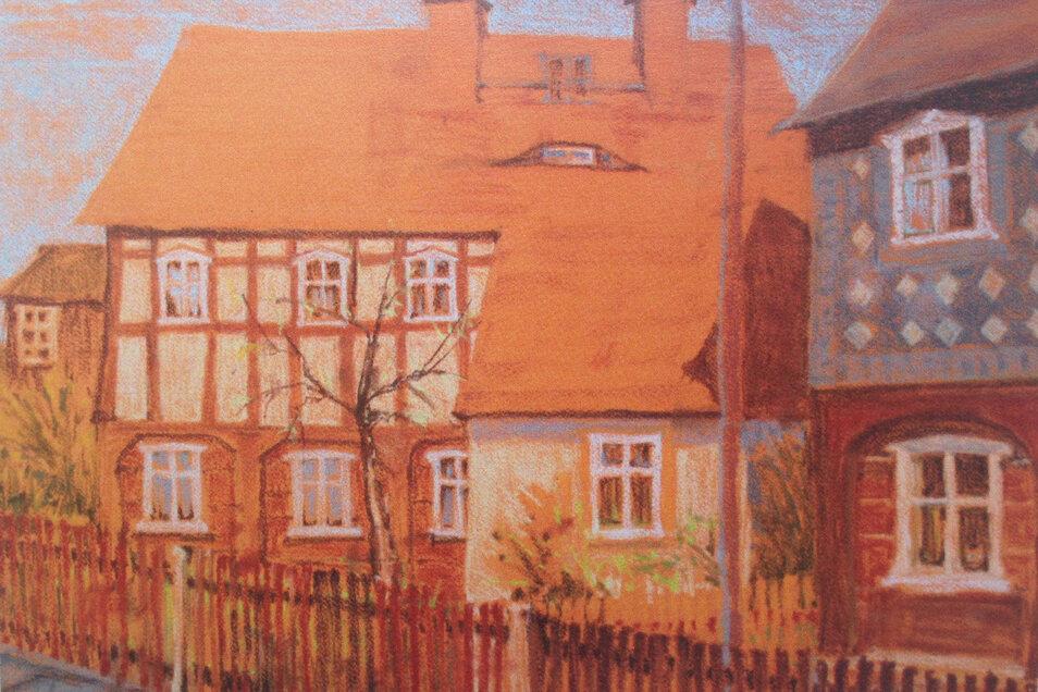 Umgebindehäuser, gemalt von Matthias Trauzettel. Werke des Künstlers und Tierarztes sind jetzt in Bischofswerda ausgestellt.
