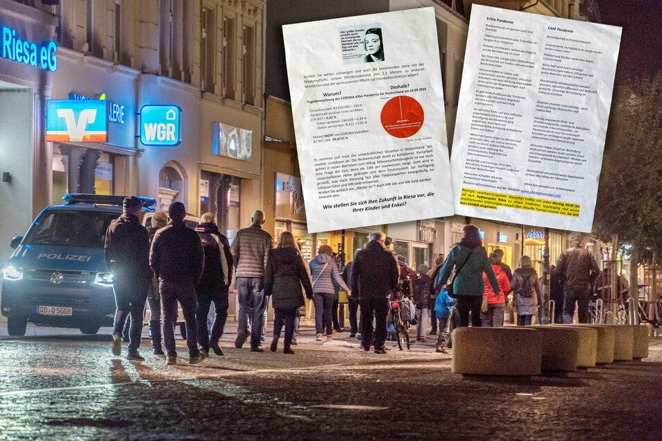 Begleitet unter anderem von der Polizei zogen rund 50 Menschen am 19. Oktober 2020 bei einem Protestmarsch gegen die Corona-Politik durch Riesa. Dazu war zuvor auch per Flugblatt aufgerufen worden.