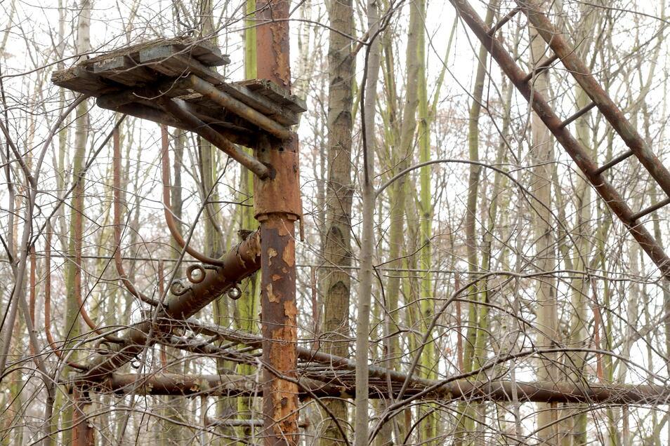 Die Reste der Kletterelemente sind noch vorhanden - wie die surrealen Teile eines Waldes.