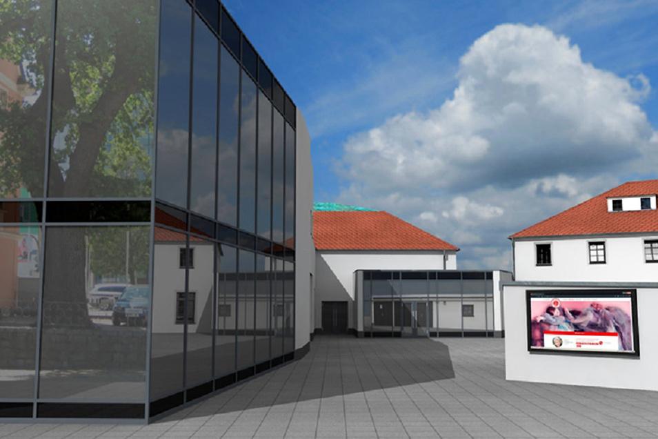 In diesen Neubau am Sorbischen National-Ensemble in Bautzen sollen unter anderem Ballettsaal und Chorräume einziehen.