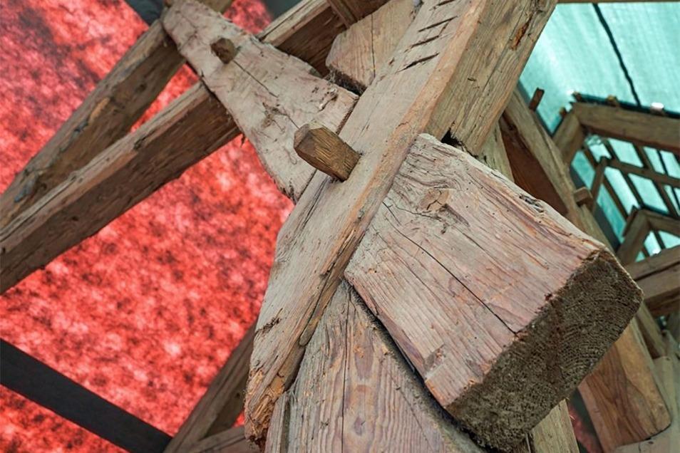 Die alte Holzkonstruktion der Wassermühle stammt aus der Zeit kurz nach dem Dreißigjährigen Krieg.