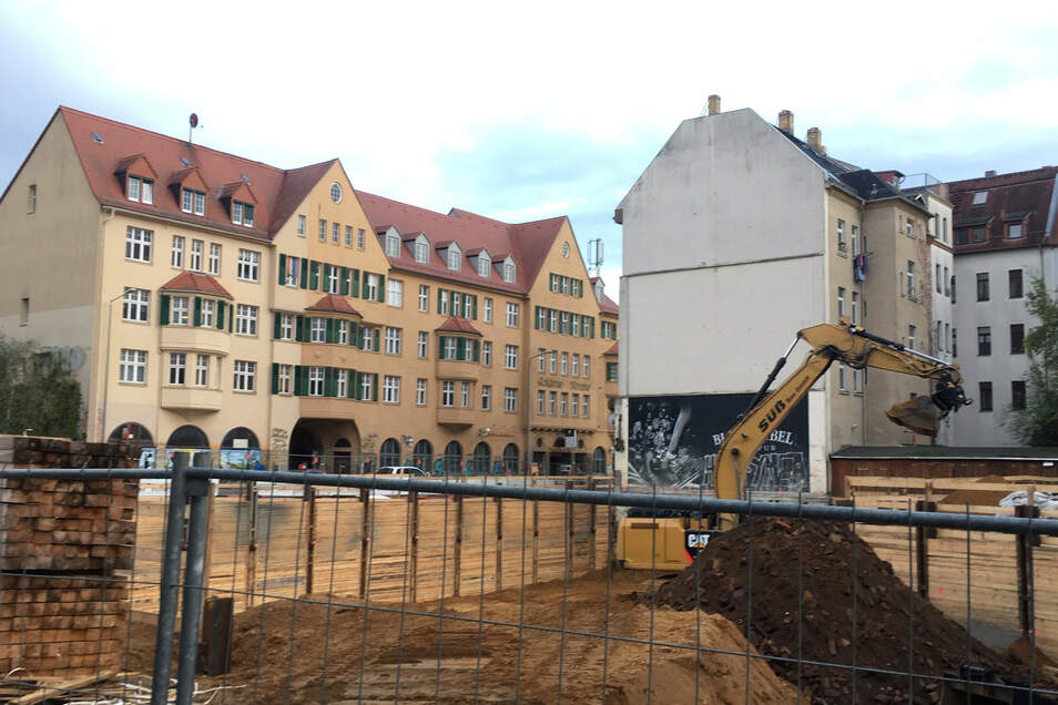 Das Archivbild zeigt eine Baustelle in Leipzig-Connewitz.
