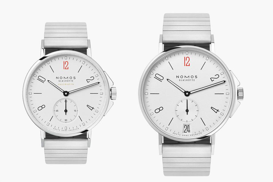 Nun gibt es auch das Modell Ahoi mit (3.684 Euro) und ohne Datum (3.353 Euro) in der Sonderanfertigung mit roter Zwölf. Vom Verkauf jeder Uhr gehen 250 Euro an Ärzte ohne Grenzen.