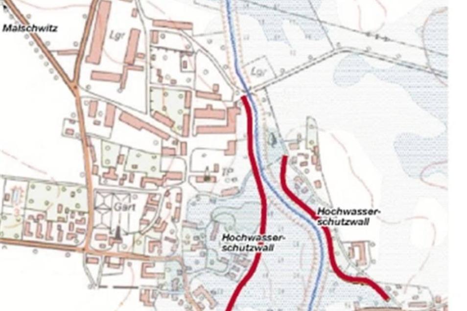 So sehen die ersten Vorschläge für den Hochwasserschutz in Kleinbautzen und Preititz aus: Mulden entlang von ehemaligen Feldrainen, Wälle als Schutz vor dem Hochwasser des Albrechtsbachs. In einer Informationsveranstaltung stellte Planer Henning Krämer di