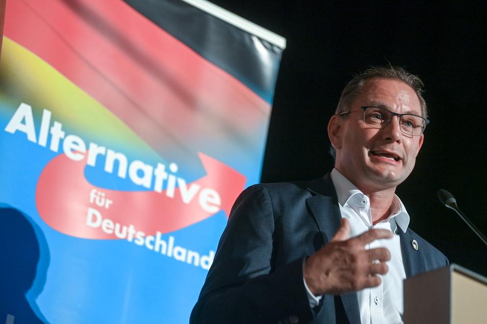Tino Chrupalla, Bundesvorsitzender der AfD, spricht auf dem Wahlkampfauftakt der AfD Sachsen in Stollberg.
