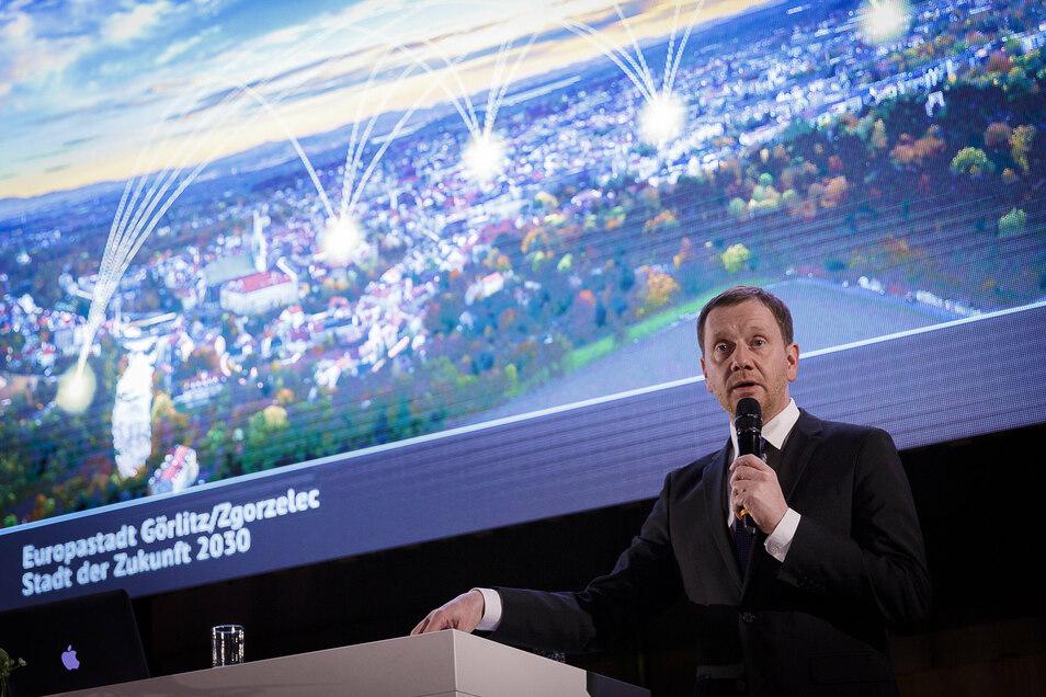 Michael Kretschmer unterstützt Kommunen bei ihren Zukunftsprojekten, wie hier beim Neujahrsempfang in Görlitz.