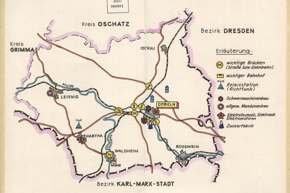Das Bild zeigt die Übersichtskarte der Stasi für den Kreis Döbeln. Sie stammt aus den Beständen der Bezirksverwaltung für Staatssicherheit Leipzig.