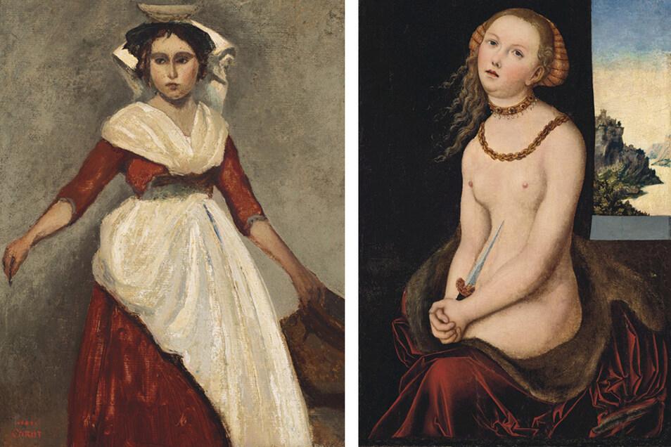 """Zu den Werken, die das Brooklyn Museum versteigern lässt, gehören Corots """"Italienne debout tenant une cruche"""" (l) und """"Lucretia"""" von Lucas Cranach dem Älteren."""