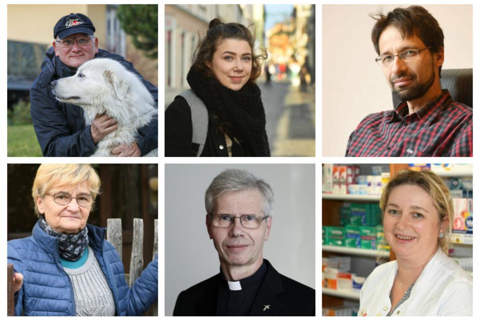 Sie alle hatten Corona: Steffen Dittmar, Belinda Balogh, Jan Novak, Petra Krause, Alfred Hoffmann und Katrin Prechel (von links oben nach rechts unten)