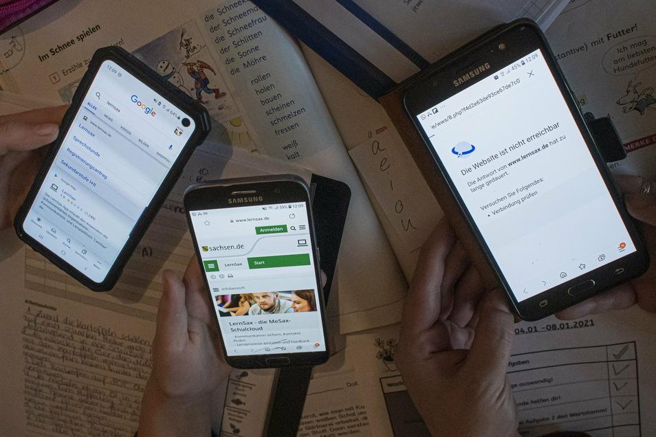 Alle drei Kinder müssen sich täglich bei der Lernplattform LernSax einwählen. Da die Familie kein WLAN hat, ist dies oft schwierig. Die Verbindung übers mobile Internet ist oft nicht stabil.
