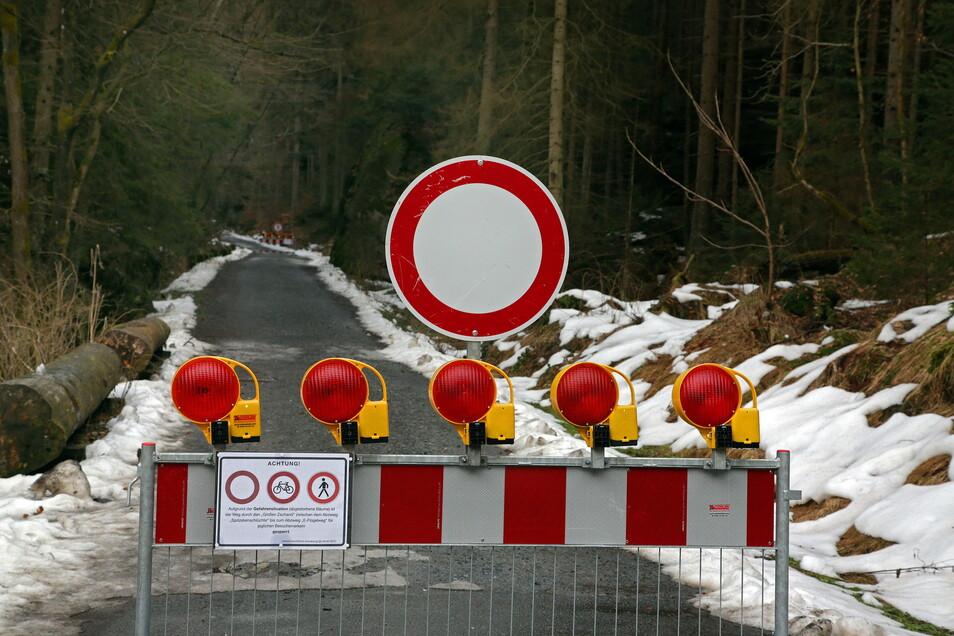Sperrscheibe an Eingang in den Großen Zschand in der Sächsischen Schweiz: Wanderer müssen wohl längere Zeit eine Umleitung nehmen.