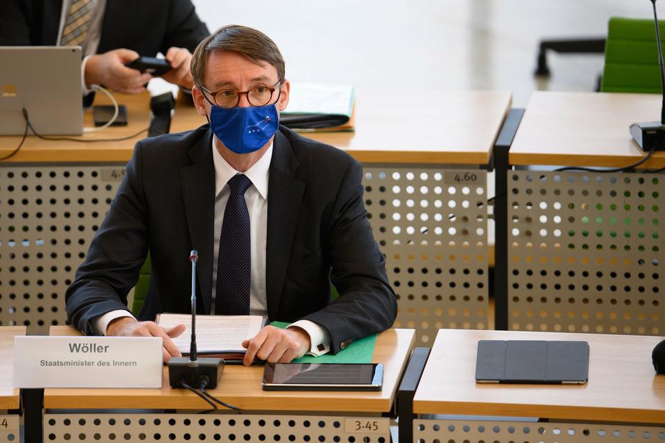 Sachsens Innenminister Roland Wöller (CDU) heute im Landtag.