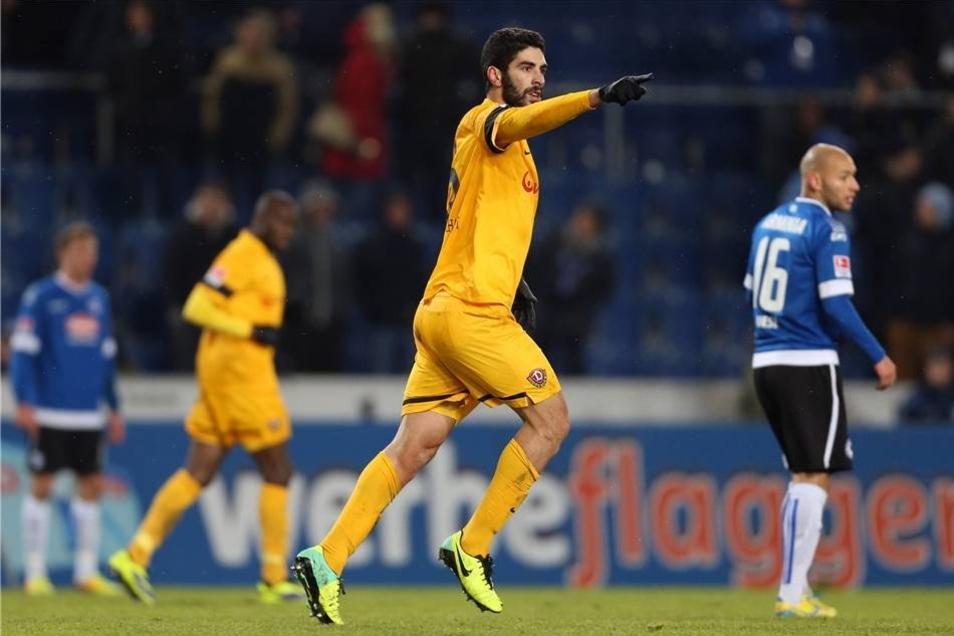 Dank eines Treffers des eingewechselten Mohamed Aoudia in der Nachspielzeit kam Dynamo Dresdenbei Arminia Bielefeld wenigstens zu einem 1:1 (0:0).