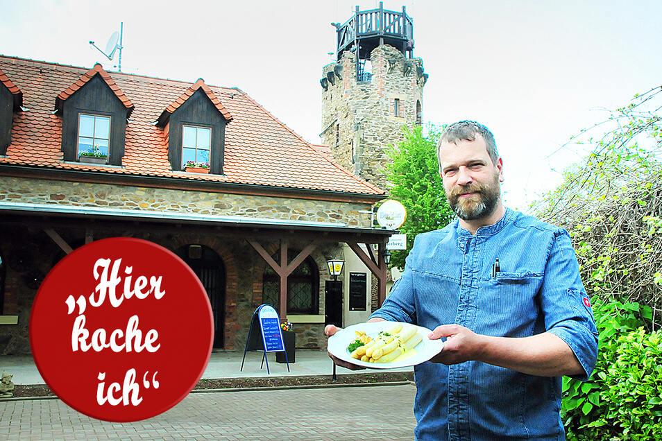 Kai-Michael Riepert im leeren Biergarten am Kupferberg. Die Spargelsaison fällt in diesem Jahr für Gastronomen dürftig aus.
