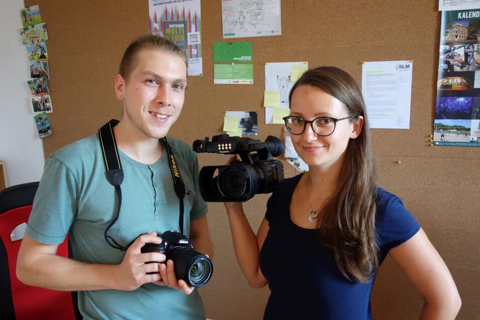 Johannes Gersten und Vivien Schuhknecht vom SAEK mobil arbeiten seit zwei Jahren von Döbeln aus mit Schulen, Kitas und in der Weiterbildung.