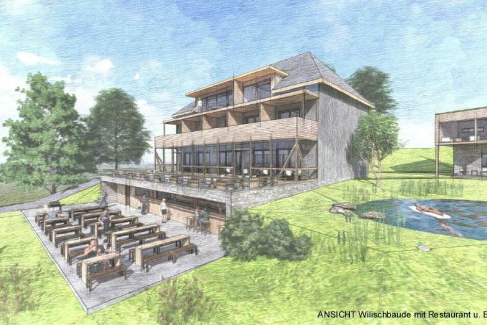 Der Biergarten vor der Wilisch-Baude wird aus zwei Ebenen bestehen, oben wird bedient. Unten wird es einen Freisitz mit Selbstbedienung geben.