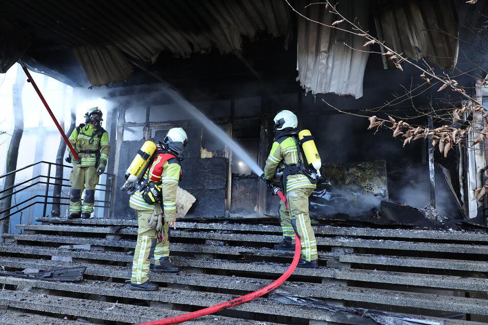 Einsatzkräfte der Berufsfeuerwehr Striesen und der Freiwilligen Feuerwehr Niedersedlitz waren am Donnerstag im Einsatz.