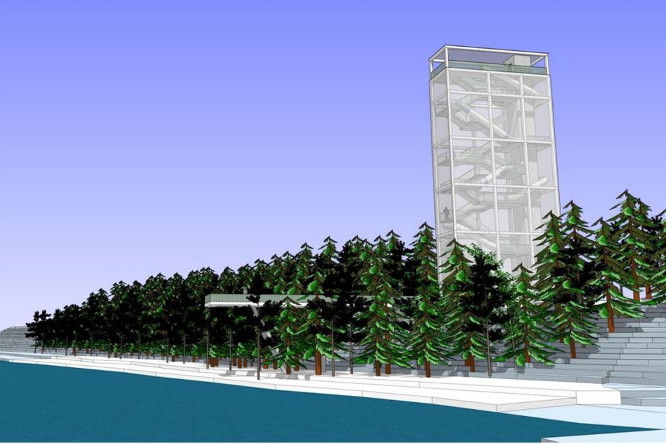 """An der südwestlichen See-Spitze soll auf Initiative des kommunalen Zweckverbandes Lausitzer Seenland Sachsen eine """"Landmarke"""" errichtet werden. Der Aussichtsturm ist mit einer Höhe von 28 Metern geplant."""