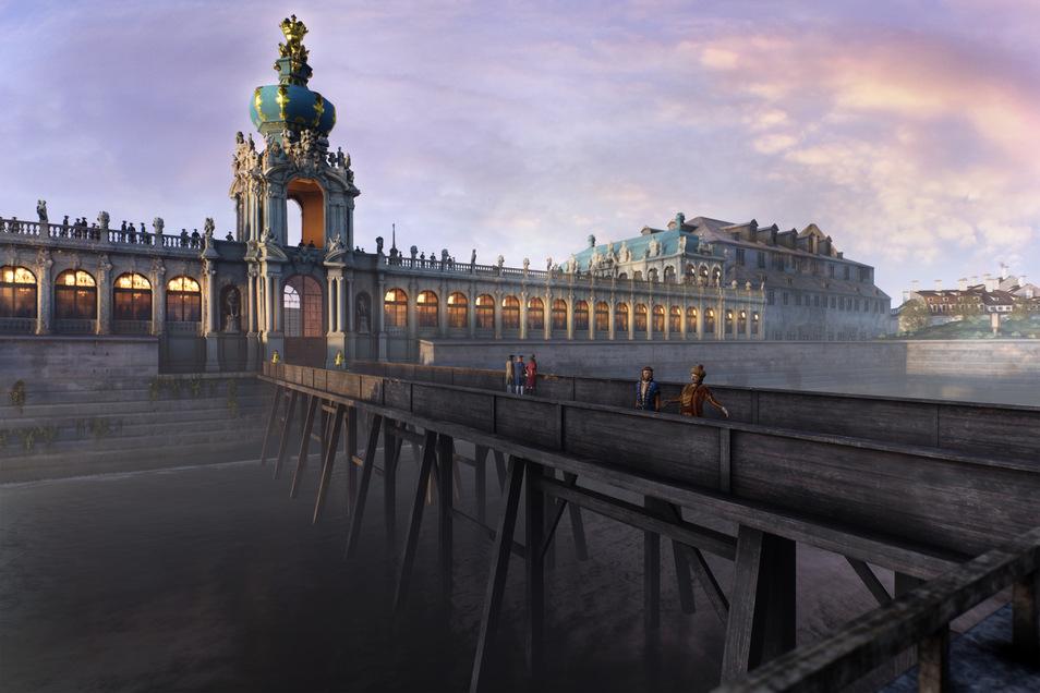 Die historische Dresdner Zwingerbrücke ist virtuell zum Greifen nah.